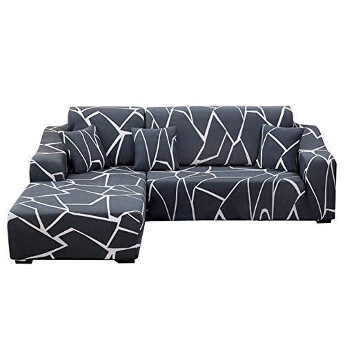 Funda de Sofa Elástica Chaise Cubierta Forros para Sofas Funda Estampada para sofá Elástica Funda De Sillón Orejero(Esquina en Forma de L Necesita Comprar Dos)-Flor/Blanco||2 plazas+ 2 plazas