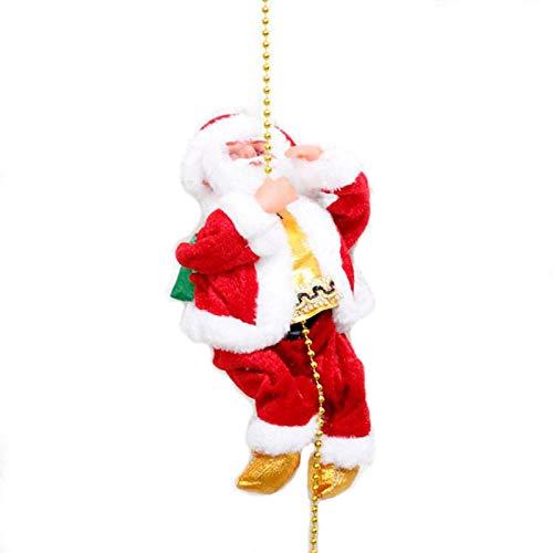 Tabanlly Decoración de Navidad Navidad Santa Claus escalada cuerda juguete electrónico música muñeca niños regalo