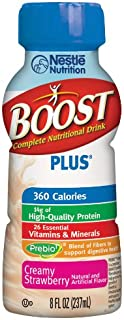 Boost Plus Complete Nutritional Drink, Creamy Strawberry, 8 fl oz Bottle, 6 Pack