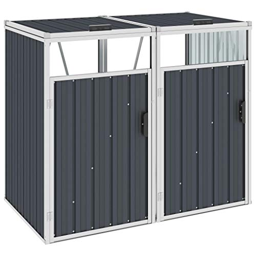 ALIMOTA Double Garbage Bin Shed Anthracite 143x81x121 cm Steel