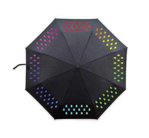 YDL Creativo 1 unids Color cambiante Paraguas gradiente Arco Iris Novedad Bolsillo Paraguas Lluvia Mujeres Parasol Damas inversa Paraguas (Color : Black)