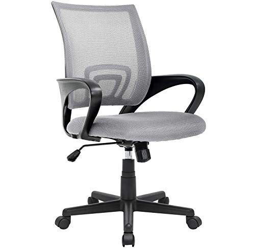 OFIKA Office Chair Ergonomic Desk Chair, Adjustable Task Chair for Lumbar Back Support, Mesh Mid Back Computer Chair with Rolling Swivel and Armrest, Modern Executive Home Office Desk Chairs (Grey)