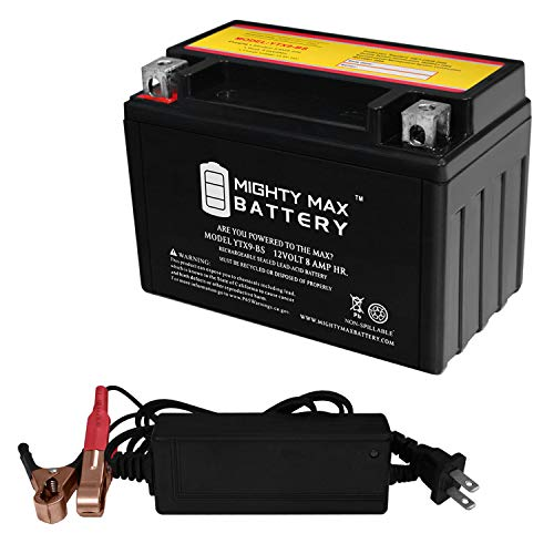 Mighty Max Battery YTX9-BS Replaces Kawasaki ZX636-B, C ZX-6R, ABS 03-17 + 12V 2A Chrger Brand Product
