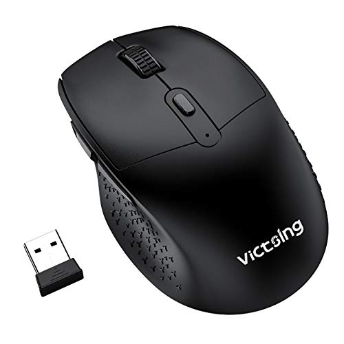 VicTsing Silent Mouse, 2.4G Ergonomic Cordless Mouse for Laptop, 5 Levels DPI Computer Wireless Mouse, 6 Buttons Ergonomic Wireless Mouse for Laptop, USB Wireless Mouse for Chromebook, Macbook, PC