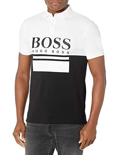 Hugo Boss BOSS Men's Color Block Polo Shirt, White/Black, L