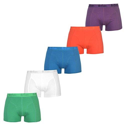 Lee Cooper 5 Pack Herren Sexy Unterwäsche Boxershorts Trunk Boxer Shorts Farbe Grün, Weiß, Blau, Rot und Lila (Small)