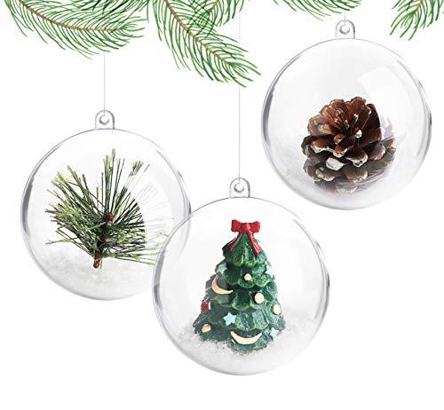 ilauke 20 Stück Christbaumkugeln Weihnachtskugeln Acrylkugeln Transparent Set mit Federn- Perlenfaden- Schneeflocken für Saisonal Deko, Hochzeit, Bemahlung, Weihnachtsbaumschmuck, Party (80mm)