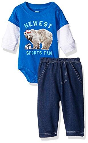 Bon Bebe Baby Boys' 2 Piece Longsleeve Side Snap Bodysuit and Denim Pant Set, Newest Blue Sports Fan, 6-9 Months