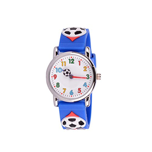WOLFTEETH Kinder und Jugendliche Uhr Analog Quarz mit Silikon Armband 303602 Blauen Armband mit Fußball MEHRWEG