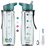 HYDRATE 2.ONE BPA Free Water Bottle with Straw & Motivational Time Markers | Leakproof Sports Bottle for Camping Workouts Gym & Outdoor Activity | 750ml (Teal)