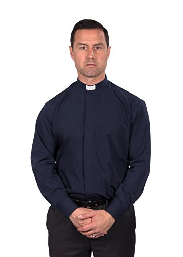 Reliant Men's Clergy Shirt - Tab Collar Long Sleeve (16.5, Navy)