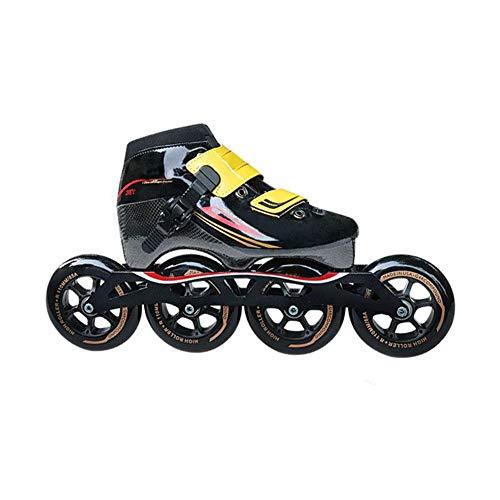 Inline Speed Skating Schuhe Für Erwachsene Einreihig Rollerblades Verschleißfestem PU-Rad Eisschnelllauf Carbon-Faser-Anfänger Sport Im Freien Fitness for Männer Und Frauen Roller Skates,Schwarz,41
