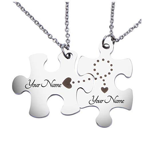 Fanery Sue Matching Puzzles Personalized Necklace Name Necklace Custom Engraved ID Tag for Couples Best Friends(Engraving Style 1)