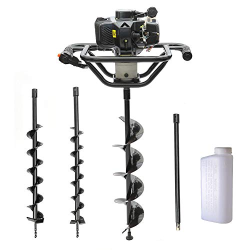 FIDOOVIVIA 52cc Petrol Earth Auger Engine Drill Post Hole Digger Borer Tools Ground Drill Garden Outdoors Fence with 3 Auger Pieces & Extension Bar