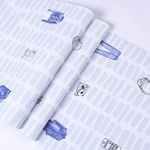 HUSTLE Kontaktpapper självhäftande tapet vinylfilm för köksbänk överskåp garderob möbler klibbig baksida plastrulle, blå, 10 m