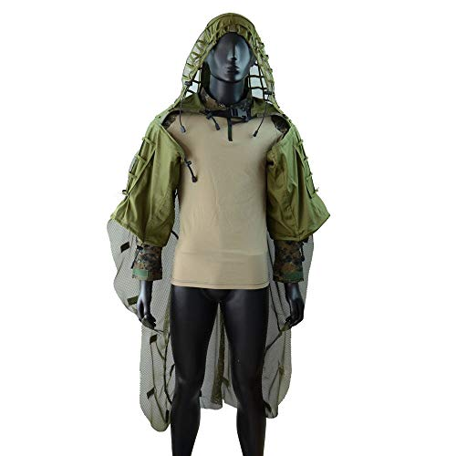 ROCOTACTICAL Tactical Sniper Top Ghillie Base Softair Jagd Ghillie Suit Foundation (Ghillie Base + Cape Army Green)