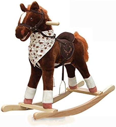 Baby Schaukelpferd Holz, Baby-Spielzeugpferd ZWeißach-Trojaner Kind Schaukelpferd Massivholz Musik Baby Geschenk Trojaner