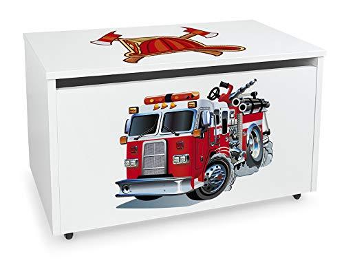 Leomark große Holzspielzeugkiste auf Rädern, Sitzbank mit Stauraum, Spielzeugkiste mit Deckel, XXL Kinderbank - Truhenbank für Kinder, weiße Aufbewahrungsbox 91L, Maße: 71cm x40,5cm x45cm (Feuerwehr)