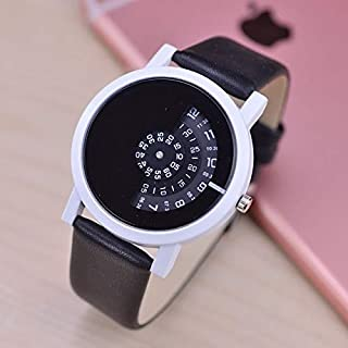 Fashion Leather Strap Watches 066 Creative Design Wristwatch Digital Discs Hands Quartz Watches(Black) (Color : White Dial Black Strap)