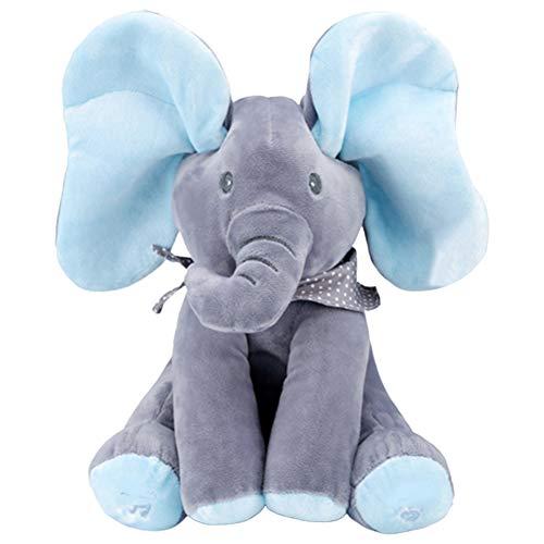 Aidiya Peek-A-Boo Musik Plüsch Elefant Flappy der Elefant Singender Sprechender Plüschelefant Weichpuppe Spielzeug Geschenke für Baby Kleinkinder Puppe Kuscheltier (Blau)