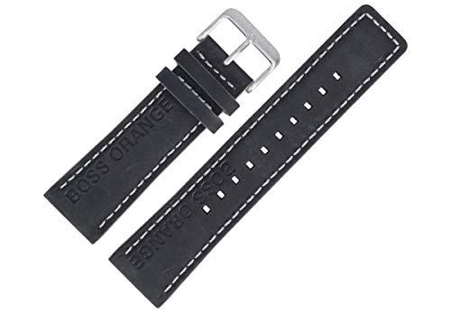 Hugo Boss Uhrenarmband 24mm Leder Schwarz - 659302652