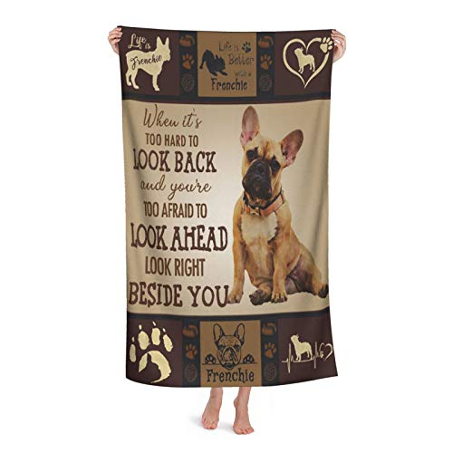 French Bulldog Pug Animal Cute Life is Dog Paw Print Pet Bath Towels Soft Quick-Dry Absorbent Extra Large Microfiber Hair Beach Towel for Bathroom Travel Gym Face Towel Washcloth Decor Blanket Gifts