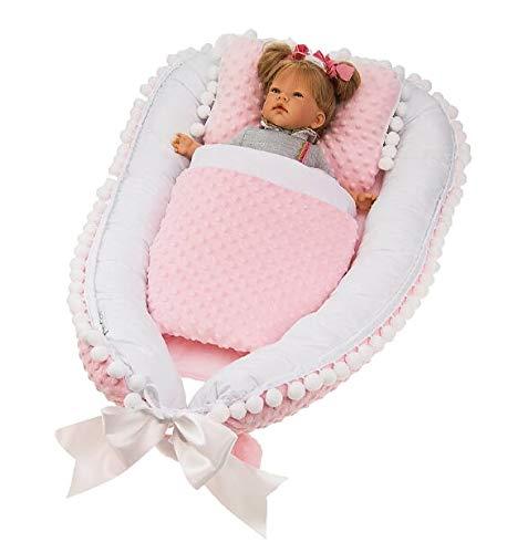 Multifunktionale Kuschelnest Babynest Kokon für Babys und Säuglinge, Nestchen, Reisebett, 100{b0f0683ce62dec18c0b48282442ccc5d3512124fc0befd978bd93aee000b4ad8} Baumwolle und Plüsch Minky, antiallergisch, Rose-weiße