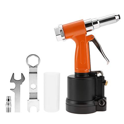 Hydraulische Luftnietpistole, pneumatische Nietpistole mit starkem kurzem Zylinder für Aluminium-, Eisen- und Edelstahlbleche(Orange Schwarz)