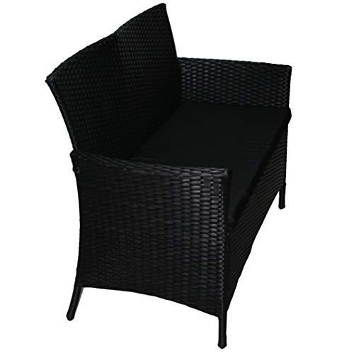 KMH®, 2-Sitzer Gartenbank aus schwarzem Polyrattan (#106068) - 2