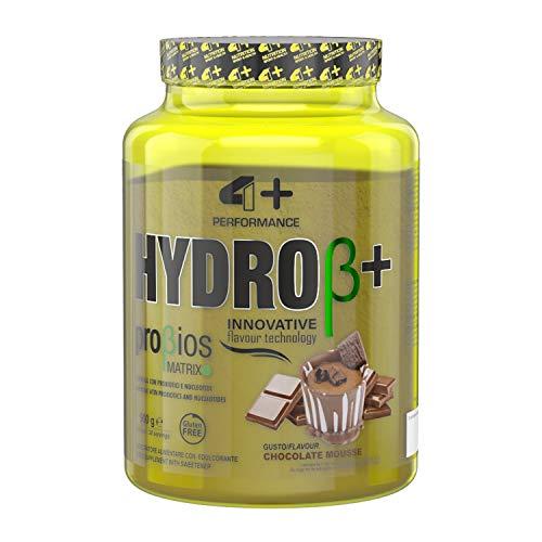 4+ NUTRITION - Hydro β+, Integratore Sportivo, Proteine Idrolizzate del Siero del Latte, Aumento di Energia, Resistenza e Recupero Veloce, in Polvere, Gusto Chocolate Mousse, 900 g