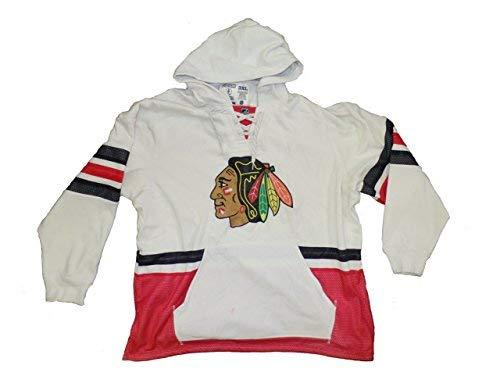 Reebok Chicago Blackhawks weiß CCM Kapuzen-Pullover Sweatshirt, Herren, weiß