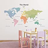 DECOWALL DLT-1809 Modern Pastel Tones World Map Kids Wall Stickers Wall Decals Peel and Stick Removable Wall Stickers for Kids Nursery Bedroom Living Room (Xlarge) décor