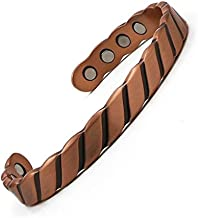 Reevaria - Guaranteed 99.9% Pure Copper Heavy Twisted Magnetic Cuff Bracelet Men 8 Magnets 3500 Gauss- Recovery Pain Relief - Arthritis, Golf Other Sports Injuries, Carpal Tunnel