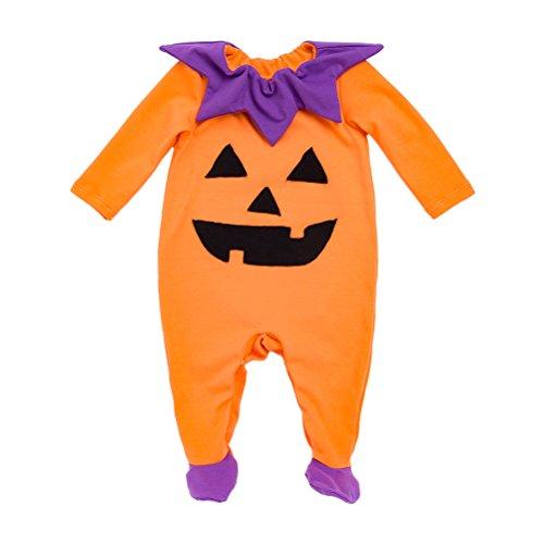 Zhhlinyuan Newborn Bébé Filles Garçons Citrouille d'halloween Combinaison Bande Coton Confort Barboteuse Bodysuit avec Hat/Headband