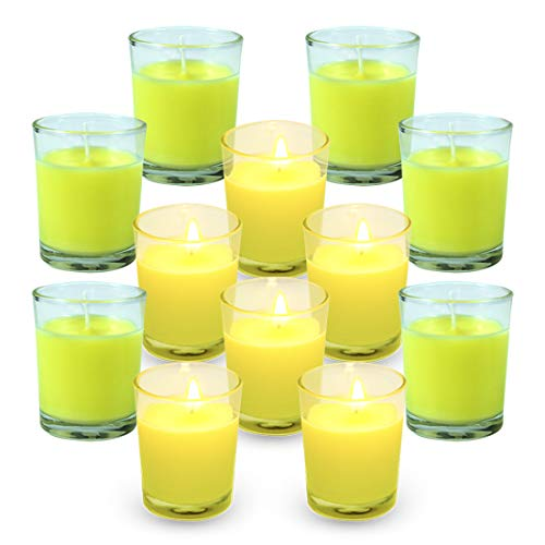 SCENTORINI Citronella Candles, Aromatherapy Soy Wax Scented Candles Set, Lemongrass Candle for Outdoor Garden Patio Camping, 12 x 50 g