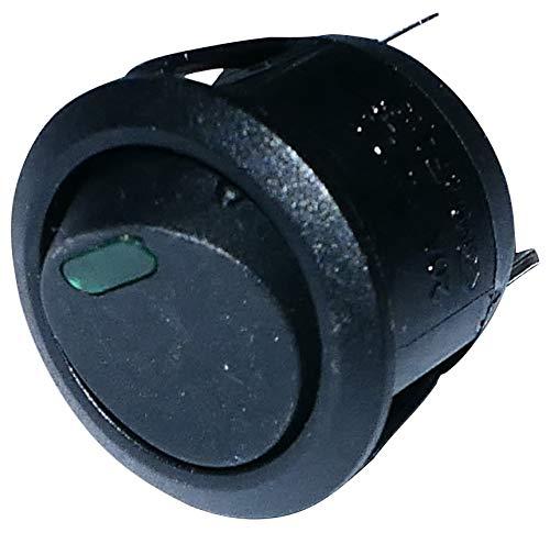 Aerzetix: Knopfschalter Switch Kippschalter Druckschalter SPST OFF-(ON) 6A/250V 20A/12V Schwarz 1 Positionen grüne LED