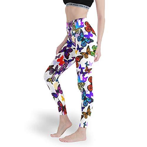 Mädchen Stilvoll Leggings Bauchkontrolle Yoga Hosen Dünn Capris Tights für Fitnesscolorful Butterfly White 3XL