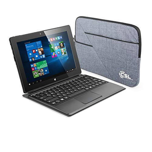 CSL Panther Tab 10 USB 3.1 inkl. Windows 10 Home, Tasche & Tastatur-Dock - 10.1 Zoll (25,6 cm) Tablet, Intel QuadCore CPU 4X 1920 MHz Intel Burst Frequenz, 4GB RAM, 64GB eMMC, WLAN, Bluetooth