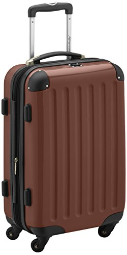 HAUPTSTADTKOFFER - Alex - Carry on luggage On-Board Suitcase Bag Hardside Spinner Trolley 4 Wheel Expandable, 55cm, brown
