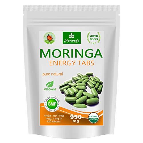 MoriVeda® Moringa Energy Tabletten 950mg, 120 St. I Moringa hochdosiert, mit Vitaminen, Proteinen & Aminosäuren in Ayurveda Spitzen-Qualität I Vegan & Glutenfrei I 120 Kapseln