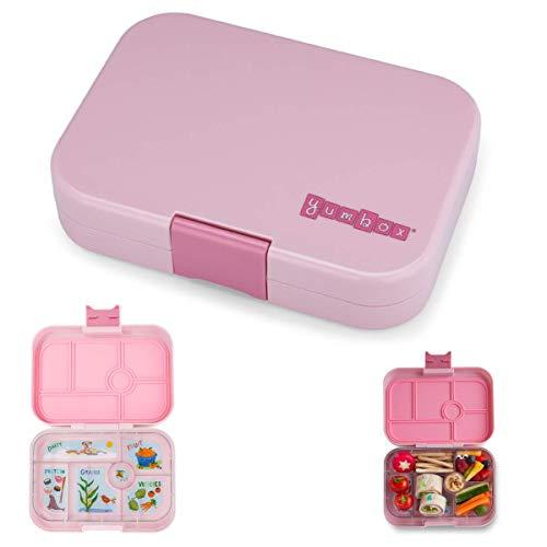YUMBOX Original (mit 6 Fächern) - PERSONALISIERBAR - Brotbox/Lunchbox/Bento Box mit fester Fächer-Unterteilung - auslaufsichere Brotdose für Schule oder Kindergarten - (Hollywood Pink (ohne Namen))