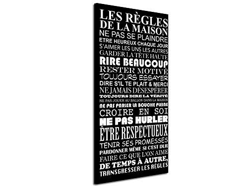 DECLINA Tableau DecoCitation Les règles de la Maison - Impression Citation sur Toile décoration Murale - Déco Maison, Cuisine, Salon, Chambre Adulte - Noir et Blanc 60x30 cm