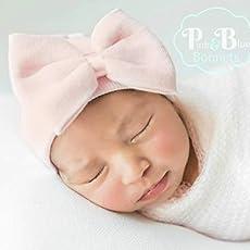 striped shower gift newborn Little sister hospital bow hat baby girl