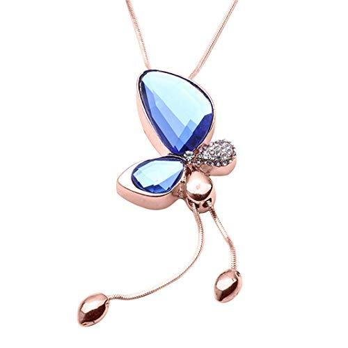 N-K PULABO Damen Pullover Kette Lange Halskette anhänger kristall Schmetterling quaste anhänger Kette Kleidung passenden zubehör (Farbe 1) bequem bequem und praktisch delikat