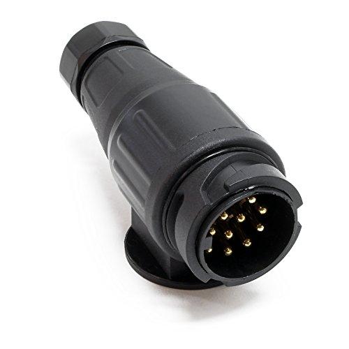Anhängerstecker 13-polig für 12V Bremsleuchten, Blinklicht, Nebelschlussleuchte u. Schlussleuchte