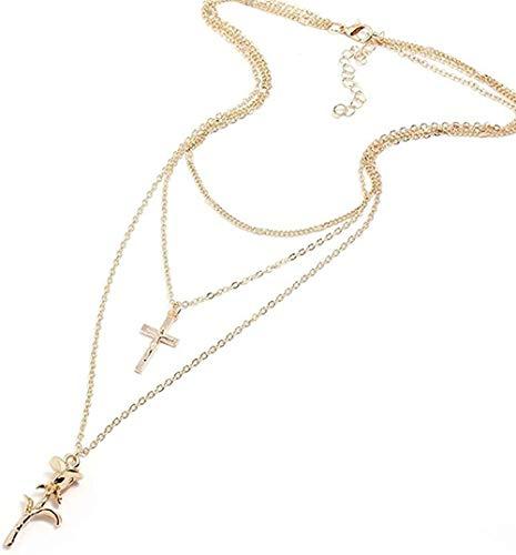 Yiffshunl Collar de Moda con Colgante de Flor Rosa, Collar con Cadena Multicapa, Collar con Dije Cruzado, Collar para Mujer, joyería, Regalo de Fiesta