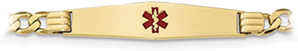 14k Yellow Gold Red Enamel Medical Alert Figaro Link Personalized ID Bracelet