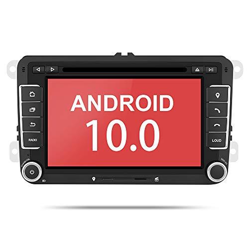 Aumume 7 Zoll Android 10.0 Autoradio mit Navi für VW Golf 5 6 Radio Unterstützt Mirrorlink Android Autoplay 4G Wifi Bluetooth DAB+ DVD CD (met 16 GB kaart)