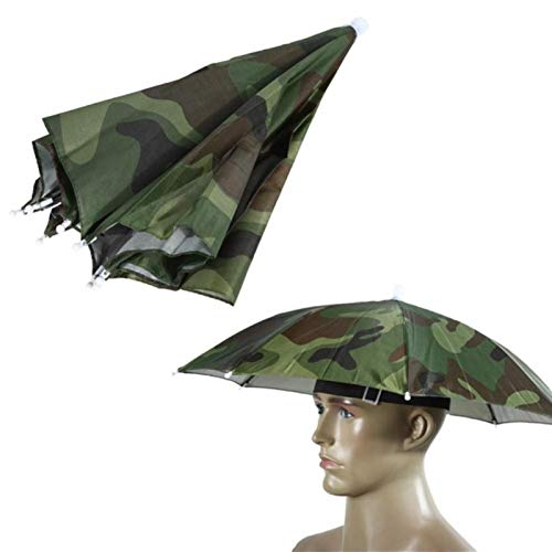 zyr Umbrella Cap Sonnenschirm Head-Mounted Umbrella Sun Shade Festival Faltbares Fischen Outdoor Head Wear Sonnenschirm, Camouflage
