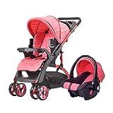 DAGCOT Poussette de Jogging, Graphite Noir avec Console de Guidon, Poussette pour bébé léger pour Voyager en Bas âge, Poussette de commodité Infantile (Color : Red)
